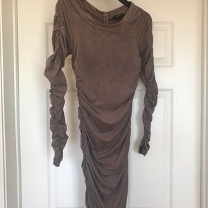 EUC bebe Taupe Faux Suede Long Sleeve Dress Sz S